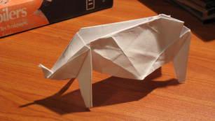An origami rhino