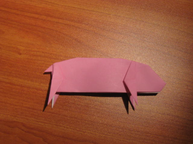 A finished origami pig