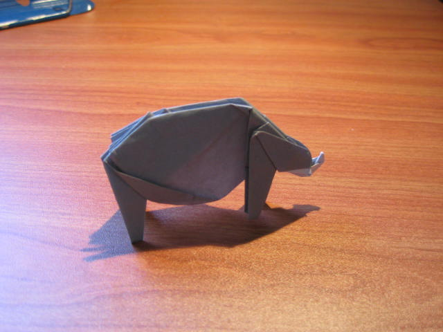 A finished origami rhino
