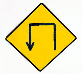 Three lefts roadsign